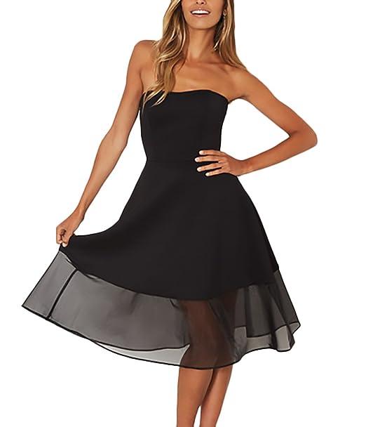 Mujer Vestidos De Fiesta Para Bodas Verano Elegantes Bandeau Sin Hombro Tul Vestido De Noche Moda Dresses Señoras Moderno Vintage Color Sólido Una Línea Por ...