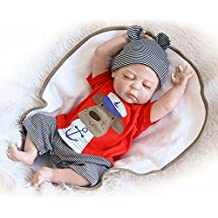 Lifelike Reborn Baby Doll - 18 Inch Realistic Full Body Silicone Vinyl Sleeping Toddler Dolls Toy for Birthday Gift, Washable Truly Real Cartoon Dog Captain Newborn Baby Boy Anatomically Correct, Red