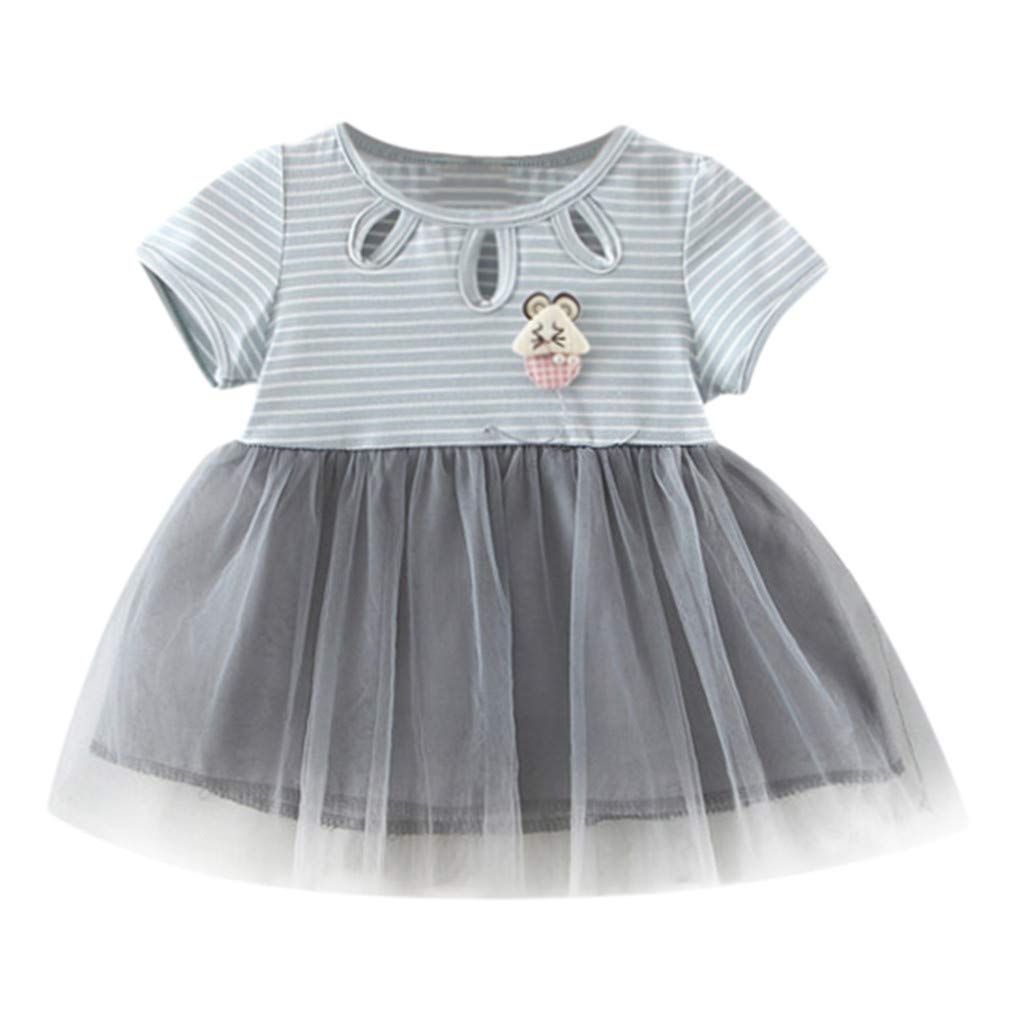 NUWFOR Newborn Kids Baby Girl Striped Tulle Patchwork Tutu Princess Party Dress(Blue,18-24 Months)