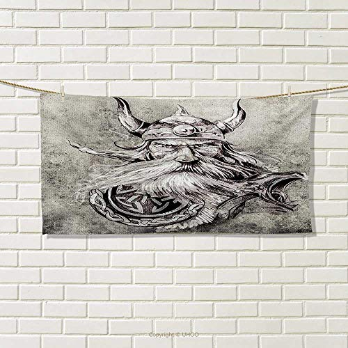 2b5afa94f5c7 Chaneyhouse Tattoo,Hand Towel,Artistic Pencil Drawing of a Brave Viking  Warrior with Armour Image Adventure,Quick-Dry Towels,Grey and White Size: W  ...