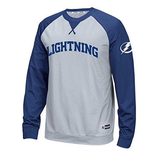 NHL Tampa Bay Lightning Men's Raglan Long Sleeve Crew Top, Small, Gray