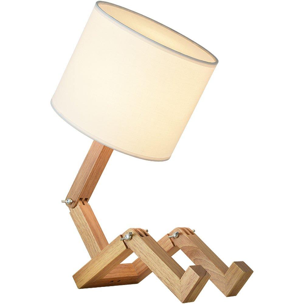 HTZ Tischlampe Nordic Minimalistische Kreative Persönlichkeit Moderne Tuch Holz Schlafzimmer Studie Restaurant Dekoration E27 Lampen A++
