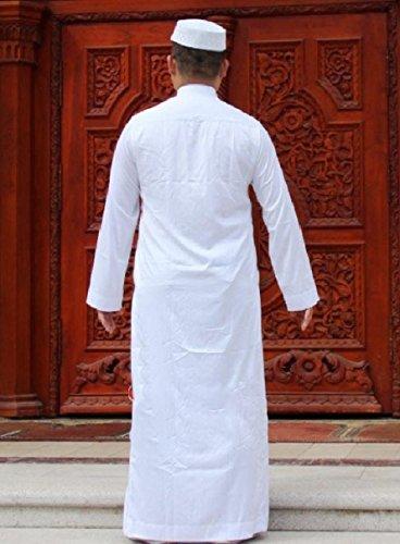 Highisa Men Stand Collar Long-Sleeve Islamic Fine Cotton Muslim Thobe White 50 by Highisa (Image #1)