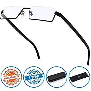 CGID Half Rim Anti-Blue light Readers , Computer Reading Glasses with TR90 Frame for Men and Women,XBK001