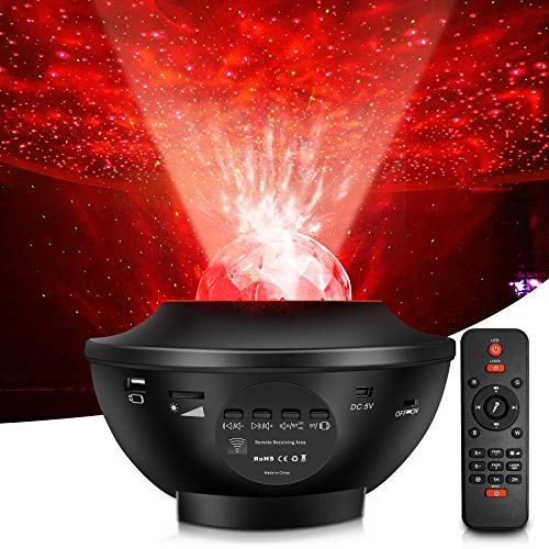 Star Projector Ocean Wave Night Light Meowlegemi for Christmas Gifts Party Atmosphere Adjustment Bedroom Music Projection Lamp with Built-in Bluetooth Music Speaker