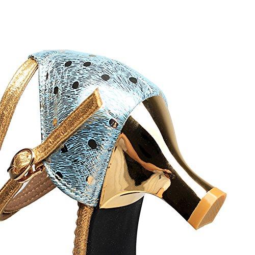 Blue Goma 5 3 Altura del Mujer 5 5cm Sandalias tacón 3 LIXIONG Baile de Transpirable de Suela 4 Malla Zapatos Moda Verano Zapatos Latino 5cm Baile de Colores O4w7Tq