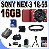 Sony Alpha NEX-3 Interchangeable Lens Digital Camera w/18-55mm Lens (Red) + 16GB SDHC Memory + Extended Life Battery + UV Filter + USB Card Reader + Memory Card Wallet + Shock Proof Deluxe Case + Accessory Saver Bundle!, Best Gadgets
