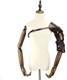 AUSWIEI Mens Steampunk Retro Leather Armor with Shoulder Armors Buckles Costume Dress-up Halloween Cosplay Props (Color : Style2)
