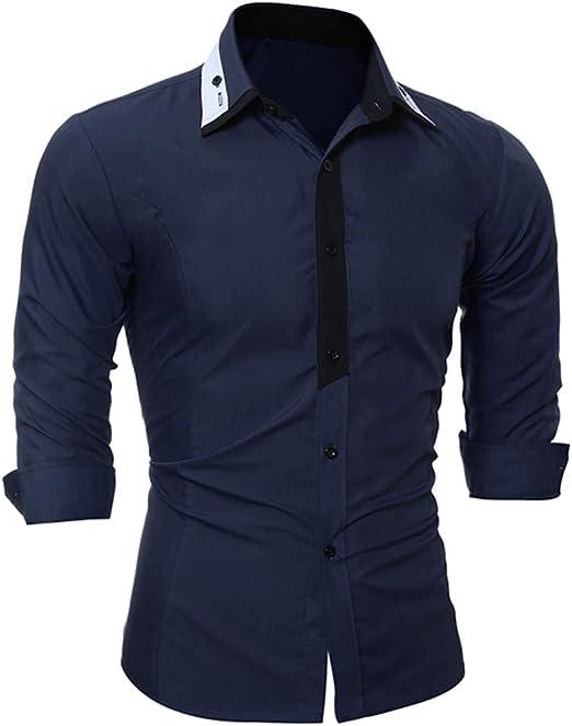 qulvyushangmaobu camisa casual con botones para hombres vestido delgado de manga larga camisa para hombres camisa slim fit manga larga sólida con botones formal camisa manga larga camisa elástica para: Amazon.es: Ropa