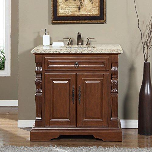Silkroad Exclusive V0278VW36C Bathroom Vanity Venetian Gold Granite Top Single Sink Cabinet, 36