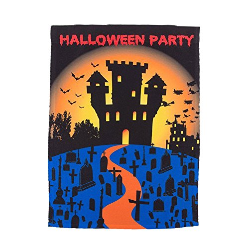 Halloween Home Garden Flag by Clever Creations | Spooky Halloween Party Theme | Features Bats, Tombstones and a Haunted House | 12 x 18 Inches Fits Standard Garden Flag Holders | Quality 600D Material ()