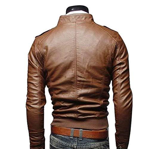 Liscia Moto Collo Manica Di Da Giacca Pelle Pelle Giacche Motociclista Vintage Sintetica In Alto Lunga Fit Slim Uomo Khaki Sz1zHcAB