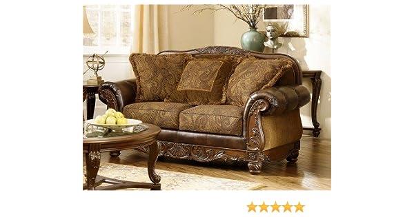 amazon com fresco durablend antique loveseat kitchen dining rh amazon com