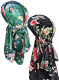 YI HENG MEI 2PCS/3PCS Print Luxury Velvet 360,540,720 Waves Long Tail Durag Bandana,Group 3(2pcs)