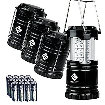 Etekcity 4 Pack Portable LED Camping Lantern with 12 AA Batteries - Camping Equipment Gear Survival Kit for Emergency, Hurricane, Power Outage (Black, Collapsible)