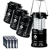 : Etekcity 4 Pack Portable Outdoor LED Camping Lantern with 12 AA Batteries - Survival Kit for Emergency, Hurricane, Storm, Outage (Black, Collapsible)