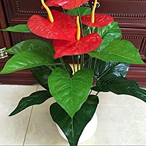 18 Heads Wedding Furniture Decor Artificial Anthurium Flower Plant Tree Foliage 2