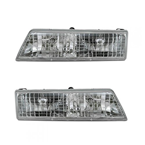 Headlights Headlamps Left & Right Pair Set for 95-97 Mercury Grand Marquis