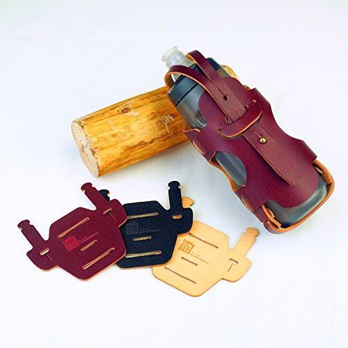 Bottle Cage for Brompton - グラマーな連続したボトルホルダー&椅子マウントパッド束-手作りWINE RED色かごおよび美しいペンキを塗っていないRAW色パッドを持つイタリア本物の革のため手製である   B07FW75W9N
