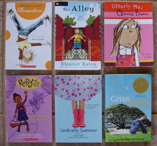 Chapter Books for Girls: Set of 6 - Ages 8-11 (Clementine ~ The Alley (by Newbery Medal-Winning Author Eleanor Estes) ~ Umbrella Summer ~ Criss Cross (Newbery Medal Winner) ~ Ruby and the Booker Boys: Brand-New School, Brave New Ruby ~ Utterly Me, Clarice Bean)