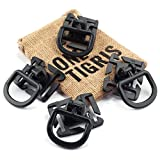 OneTigris 4pcs Tactical 360 Rotation D-ring Clips MOLLE Webbing Attachment Backpacks EDC (Black)
