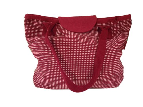 Multipocketed Hand Woven Cotton Laptop Bag or Large Handbag Made in Nepal Fair Trade (Crimson)