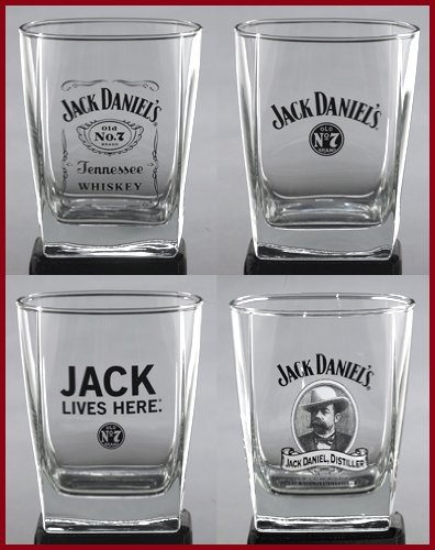 Jack Daniel's Double Old Fashioned Glass DOF Set of 4 (Glassware Daniels Jack)