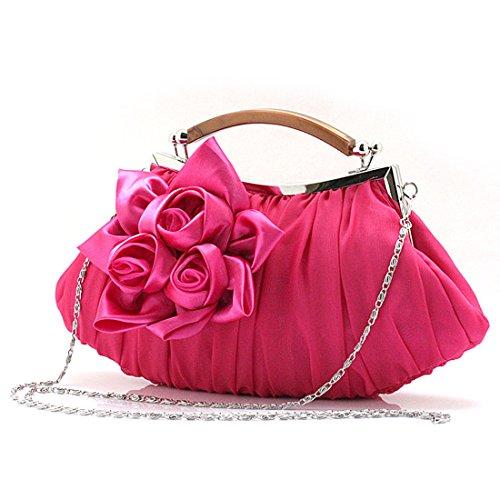 KAXIDY Bolso de Embrague Flor Bolsos de Fiesta Bolsos de Boda Carteras de Mano Rose-rojo