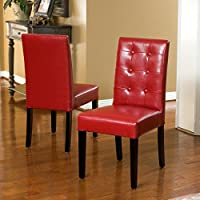 Gillian Red Leather Dining Chair (Set of 2)
