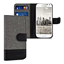 kwmobile Wallet case canvas cover for Samsung Galaxy S4 Mini - Flip case with card slot and stand in grey black