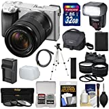 Sony Alpha A6300 4K Wi-Fi Digital Camera & 18-135mm Lens (Silver) 32GB Card + Lenses + Flash + Battery + Charger + Tripod + Kit