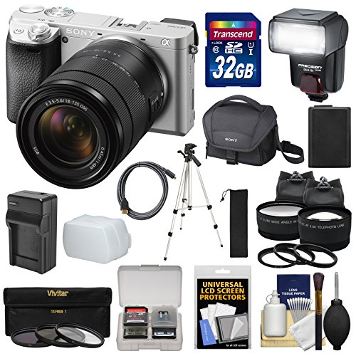 Sony Alpha A6300 4K Wi-Fi Digital Camera & 18-135mm Lens (Silver) with 32GB Card + Lenses + Flash + Battery + Charger + Tripod + Kit