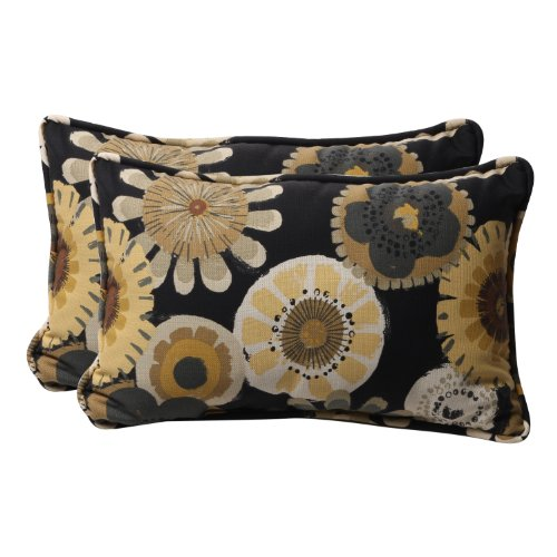 Pillow Perfect Decorative Floral Rectangle Toss Pillow, 18-1/2 x 11-1/2 x 5-Inch, Black/Yellow ()