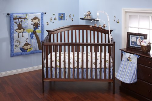 Jo 3 Little Monkeys 10 Piece Crib Bedding Set, Boy ()