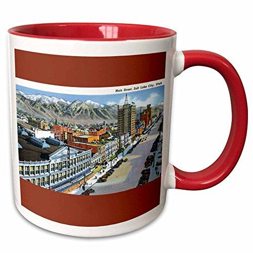 3dRose BLN Vintage US Cities and States Postcards - Main Street, Salt Lake City, Utah Aerial View of the City - 15oz Two-Tone Red Mug (mug_170754_10)