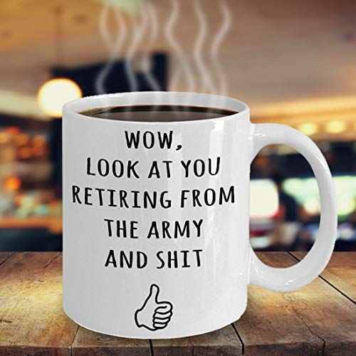whitexzzx Wow Look at You Retiring from The Army Retirement Gifts, ROTC Program Grad, Coffee Mug for Boot Camp Graduate, Gag Gift, Retired Army Cup