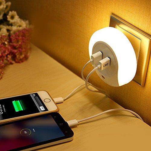 KOBWA LED Night Light Lamp with Dusk to Dawn Sensor and Dual USB Wall Plate Charger, for Kids Baby Nursery Bedroom Hallway, Warm Light