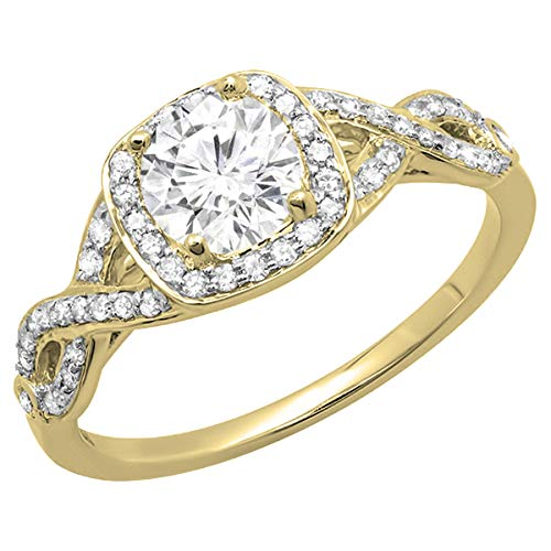 Dazzlingrock Collection 14K Round Moissanite & White Diamond Ladies Split Shank Halo Engagement Ring, Yellow Gold, Size 5.5