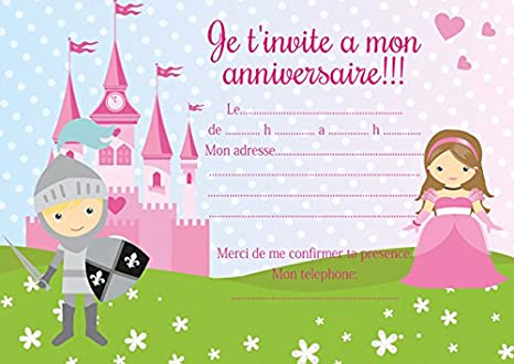 10 Cartes Invitation Anniversaire Chevaliers Princesse
