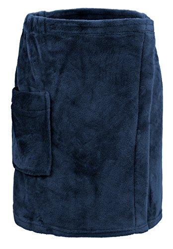 Leisureland Men's Plush Fleece Wrap, Spa Gym Bath Wrap Dark Blue ()