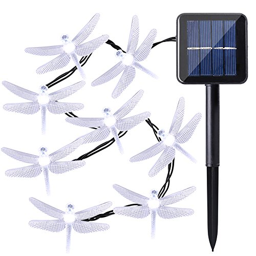Qedertek Dragonfly Solar String Lights, 20ft 30 LED Waterproof Fairy Decoration Lighting for Indoor/Outdoor Home, Patio, Lawn, Garden, Party, Wedding, Seasonal Holiday, and Christmas (White)