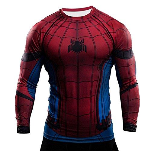 Long Spiderman Para De Born2ridetm Interior blue Sleeve Térmica Diseño Ideal Gimnasio Camiseta Red Ciclismo Manga Corta Superhéroe O Compresión g6nd8WT