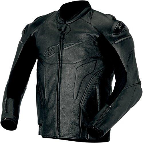 Alpinestars Phantom Men's Leather Street Bike Motorcycle Jacket - Black / Size 48