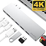 """4K HDMI Combo Hub Adapter for MacBook Pro 13"""" & 15"""" 2016/2017, EQUIPD Aluminum 8 in 1 USB Type C Charging Port, Thunderbolt 3 port, MicroSD/SDHC/SDXC Card Reader, 3 USB 3.0 Ports - Silver"""