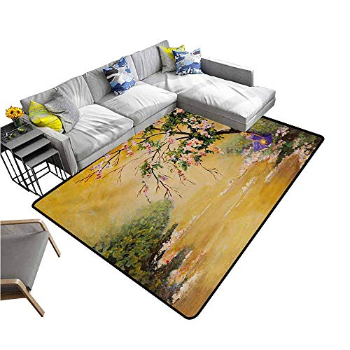 - Carpet for Living Room Landscape,Oil Painting Acrylic Like Image Flower Petal Falls Down Near River with Girl Art,Multicolor 80