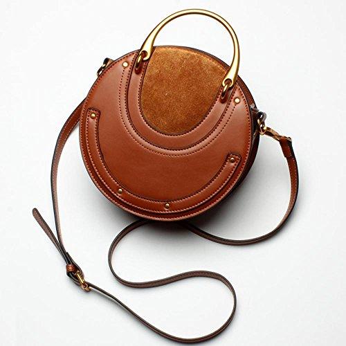 Aoligei Fashion cuir rétro métallique sac à main petite ronde sac rivet épaule unique messenger sac sac petite marée C