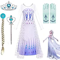 Ardorlove White Princess Dress Anna Elsa Frozen 2 Halloween Carnival Cosplay Dress up Wedding Party Outfit gift (Color…