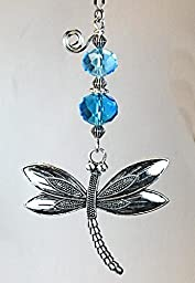Turquoise Faceted Glass with Large Dramatic & Detailed Dragonfly Light or Ceiling Fan Pull Chain