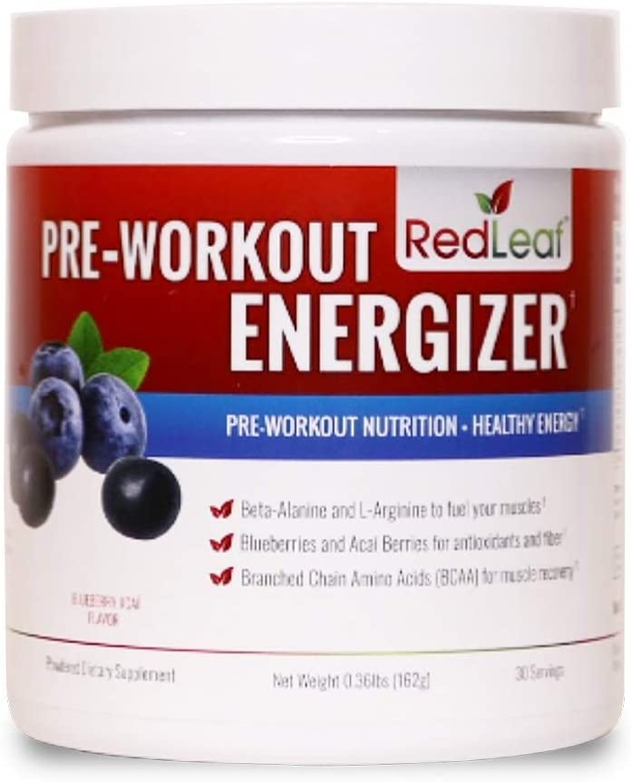 Red Leaf Pre-Workout Energizer Powder, BCAA's, Beta-Alanine, Amino Acids and Green Tea for Immune Support - 30 Servings (Blueberry Acai)