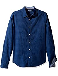 Nautica Men's Long Sleeve Slim Fit Printed Button Down Shirt